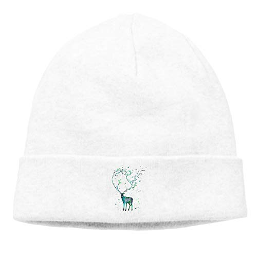 Hip-Hop Knitted Hat for Mens Womens Long Horned Deer Unisex Cuffed Plain Skull Knit Hat Cap Head Cap ()