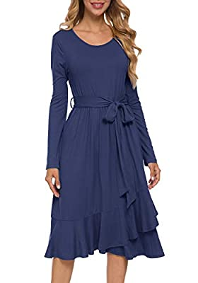 levaca Women's Plain Long Sleeve Flowy Modest Midi Work Casual Dress with Belt