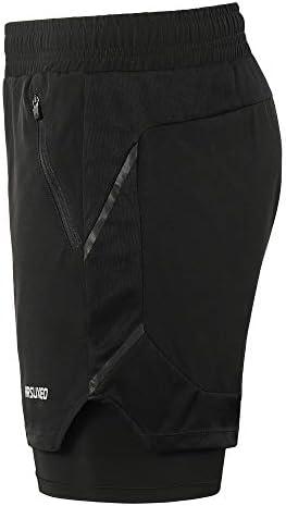 Lixada Hombres Pantalónes Cortos de Running 2-en-1,Atletismo/Fitness/Maratón,Transpirable+Secado Rápido