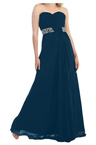 Toscana novia elegante en forma de corazón de cristal vestidos de gasa por la noche vestido de fiesta de fútbol largo Prom vestidos Tinte Blau
