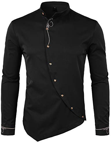 WHATLEES Mens Hipster Irregular Hem Slim Fit Long Sleeve Banded Collar Dress Shirts with Embroidery T21 Black Large