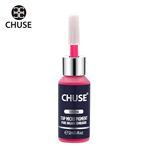 (CHUSE T305, 12ml, Pink, Passed SGS,DermaTest Top Micro Pigment Cosmetic Color Permanent Makeup Tattoo Ink)