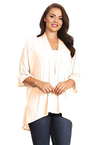 (Modern Kiwi Plus Size Solid 3/4 Sleeve Open Front Cardigan Cream 3X)