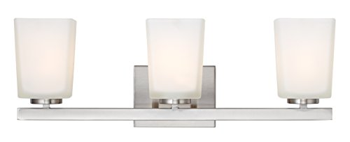 (Canarm LTD IVL472A03BN Hartley 3 Light Vanity, Brushed Nickel with Flat Opal Glass)