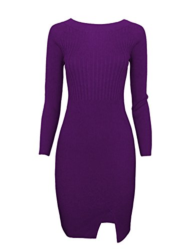 (TAM WARE Women Stylish Slim Fit Knit Sweater Boat Neck Bodycon Dress TWCWD078-PURPLE-US XL)