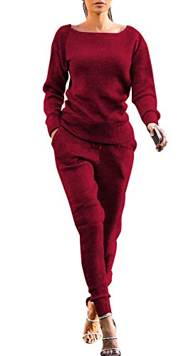 Womens Tracksuit, Casual Knit Long Sleeve Two Piece Tracksuit Outfits Sexy Jumpsuits Sweatsuit Set
