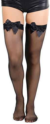 ToBeInStyle Women's Sheer Thigh Highs With Satin Bow - Black - - Sheer Satin Garter