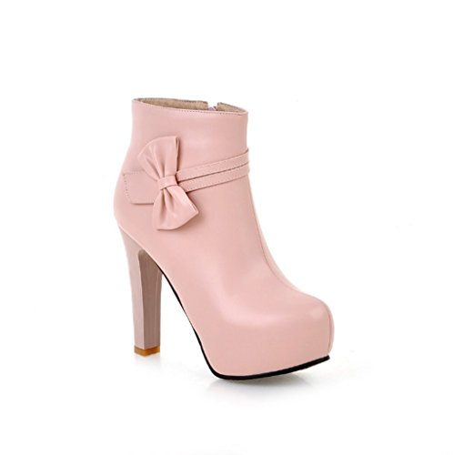 JAZS® Autumn And Winter High-heeled boots Bowknot Waterproof Rough with Fashion boots Side zipper shoes Comfortable wear-resistant sexy sweet ( Color : Black , Size : 38 ) Pink