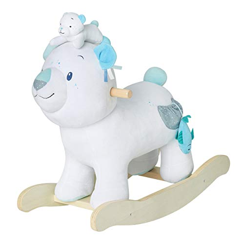 (Child Rocking Horse Toy,Stuffed Animal Rocker,Polar Bear Plush Rocker for Kid 1-3 Years,Wooden Rocking Horse/Stuffed Animal/Baby Rocker Horse/Ride Animal )