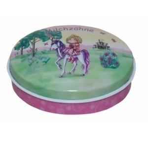 Lata de Metal para guardar dientes de leche Dise/ño Princesa y su Caballo