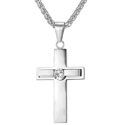 Stainless Steel Cubic Zirconia Simple Cross Pendant (Cubic Zircon Cross Pendant)