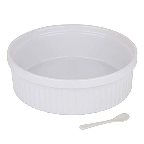 Souffle Dish Ramekins for Baking - 64 Oz, 2 Quart Large Ceramic Oven Safe Round Fluted Bowl with Mini Condiment Spoon for Soufflé Pot Pie Casserole Pasta Roasted Vegetables Baked Desserts (White)
