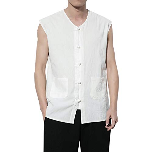 (Big Sale! Fastbot Men's Cotton and Linen Button Chinese Style Sleeveless Vest Solid Color Pocket Slim T-Shirt top)