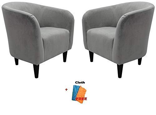 Mainstays Microfiber Tub Accent Chair, 27.50 x 30.50 x 32.00, Dove Gray, Set of 2 + Free Cleaning Cloth ()