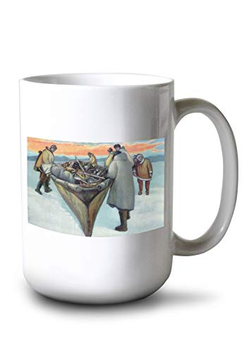 Whaling Boat (Lantern Press Alaska - Eskimos Launching Whaling Boat (15oz White Ceramic Mug))