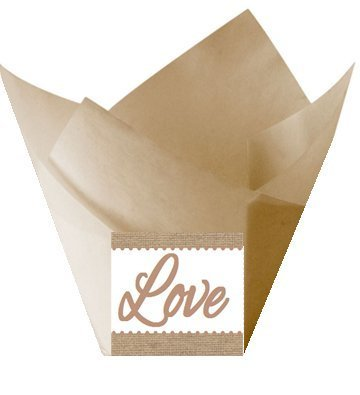Acquisition 12pack Love Wedding Natural Kraft (Burlap Brown) Tulip Baking Cup Liners deal