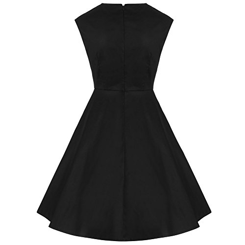 iShine La Sra retro golpeó el vestido del arco de encaje de color negro