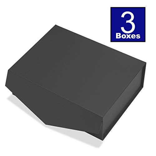 Cohaja Matte Black Gift Box with Lid | 3 Pack | 12 x 9 x 4 Inch | Magnetic Closure | Multiple use | Decorative Gift or Storage Boxes for Groomsmen Proposal, Favors, Weddings, Office and More
