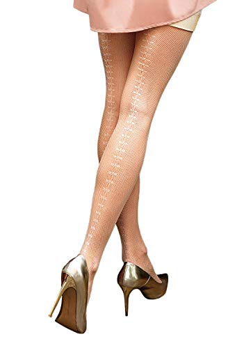 Womens NUDE FISHNET TIGHTS with openwork back design | Gatta BRIGITTE 11 {Made in Europe} (frappe/tan, 1/2 (XS/S)