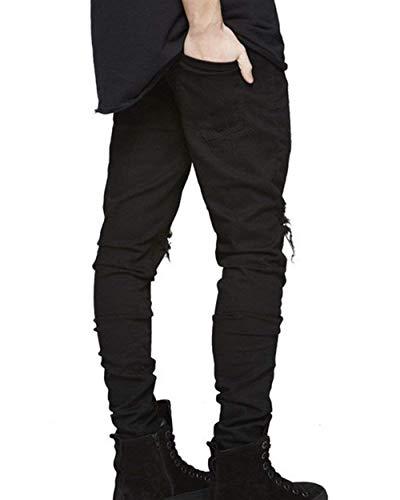 Retrò Uomo Da Libero Denim Moda Slim Jeans Strappati Pantaloni Fit Nero Tempo Skinny 6xfBE8wq