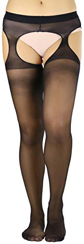 ToBeInStyle Women's Wide Strapped Sheer Suspender Pantyhose - Black - - Pantyhose Sheer Crotchless