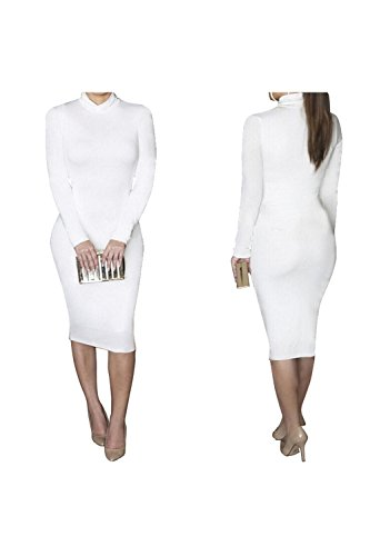 White Turtleneck Dress (Dora Bridal Women's Turtleneck Long Sleeve Slim Bodycon Tight Dress)