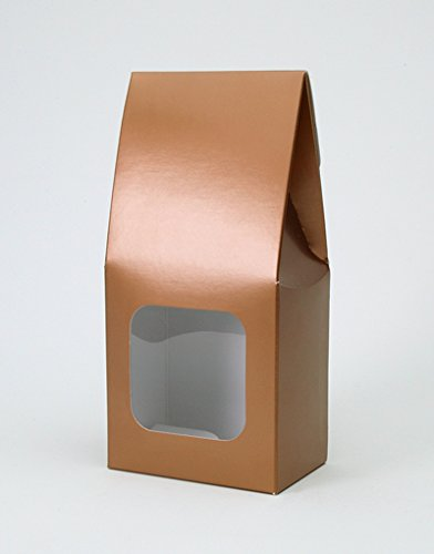 Tapered Gable Tote with Square Window, Case of 250 | Holds 6 Ounces of Popcorn, Nuts or Candies (Bronze) - Simplex Square