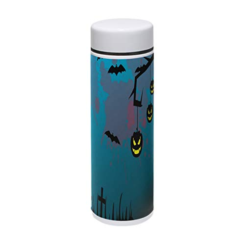 Coffee Thermos Halloween Cartoon Graveyard Wallpaper Vacuum Insulated Small Kids Thermos Flask Stainless Steel Water Bottles Leak Proof Travel Coffee Mugs 7oz / -