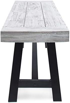 Cytheria Indoor Farmhouse Light Grey Sandblast Finish Acacia Wood Dining Bench with Black Rustic Metal Finish Frame