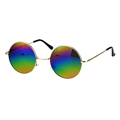 Mens Round Circled Mirrored Lens Wire Rim Musician Sunglasses (Gold Oil Slick) -