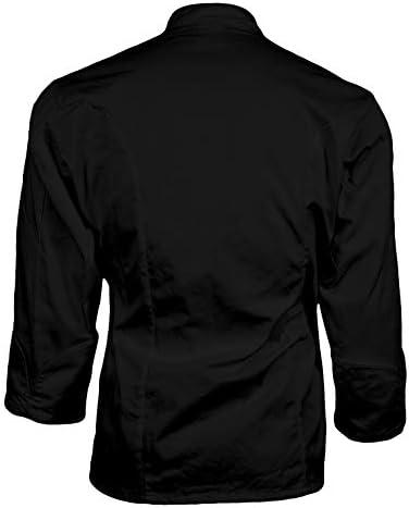 CHEFSCLOSET UNISEX LONG SLEEVE EXECUTIVE KNOT BUTTON BLACK CHEF JACKET LARGE CHEF COAT