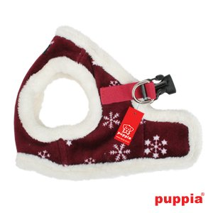 Puppia Authentic Snowflake Harness B, Large, Wine, My Pet Supplies