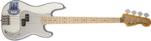Fender Steve Harris Precision Bass, Maple Neck, Olympic White with Stripe