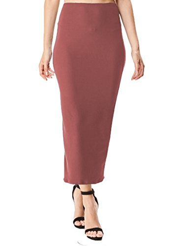 Women's Midi Long Pencil Straight Skirt Solid & Floral Maxi Casual, Office, Dressy Bodycon (Small, Mauve Blush)