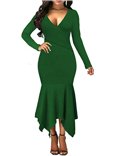 Uotige Womens Long Sleeve Stretchable Elasticity Slim Fit Sweater Dress Surplice Wrap Bodycon Knit Maxi Dress Green XL