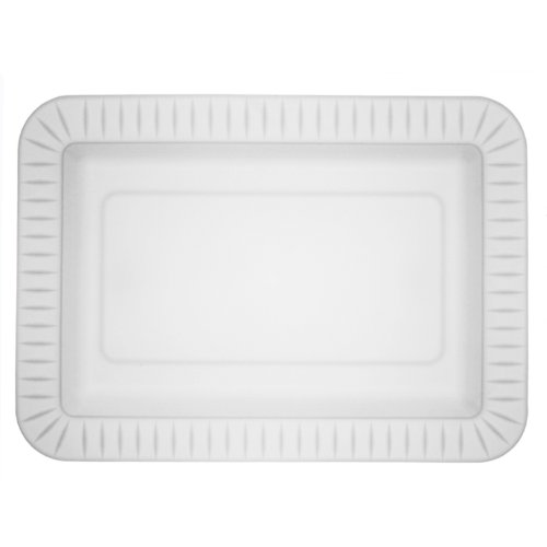 Party Essentials Elegance Quality Hard Plastic 5 x 7-Inch Rectangular Appetizer Plates, White, 24 Count