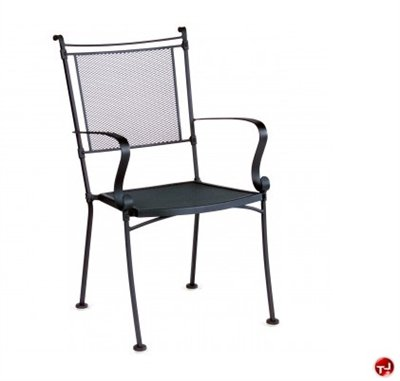 Grid Outdoor Wrought Iron Dining Arm Stack Chair