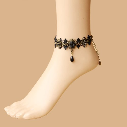 Brightdeal Fashion Hand Craft Romantic Beautiful Retro Vintage Gothic Style Noble Elegant Lace Anklets Chain Foot Ankle Bracelet Halloween Decoratioins Present