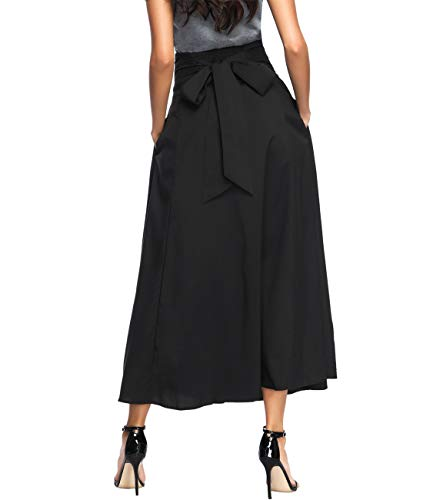 Double Slit Skirt - Long Length Skirts for Women Flowy, Womens Casual High Waisted Front Slit Pleated Maxi Skirt (Black01 XL)