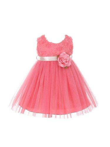 My Best Kids Soft Rosebud Appliqué Taffeta Bodice Infant Girl Dress-Coral-Medium