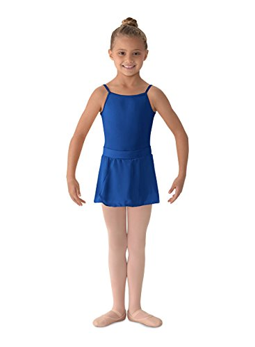 Mirella Girl's Georgette Mock Wrap Dance Skirt Royal Small