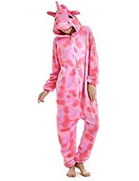 3dc00dee26c1 Unisex Womens Onsies Pajamas Unicorn Animal Soft Fleece Flannel All in One  Jumpsuit Party Costume