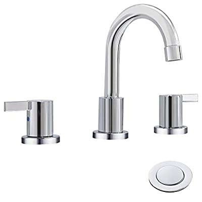 2 Handle 8 inch Widespread Bathroom Sink Faucet with Metal Pop-Up Drain By Phiestina, Chrome,WF015-1-C