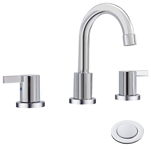 Faucet Bathroom Chrome 2 (Phiestina Two Handle 8 inch Widespread Bathroom Sink Faucet with Metal Pop-Up Drain, Chrome,WF015-1-C)