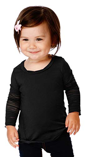 Sheer Sleeve Jersey Long Tee (Kavio! Infants Sheer Jersey Raw Edge Twisted Round Neck Two-Fer Burnout Long Sleeve Black 12M)
