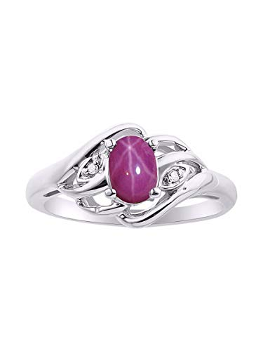 (RYLOS Simply Elegant Beautiful Red Star Ruby & Diamond Ring - July Birthstone)