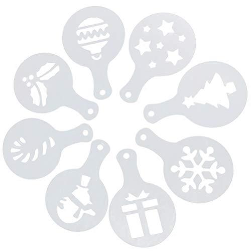 Decorating Stencil (8 Pcs Christmas Cookie Stencils Fondant Cookie Mold Food Grade Plastic Coffee Decorating Stencils Powdered Sugar Sieve)