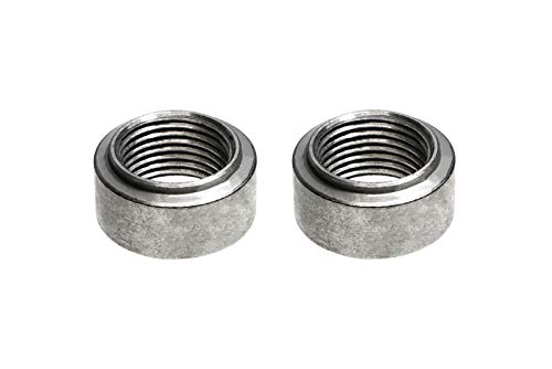PitVisit Mild Steel Exhaust Weld Bung for Standard Size Bosch Style Lambda Wideband Oxygen Sensors Universal Weld-On - Pack of 2 (Stepped Lip)