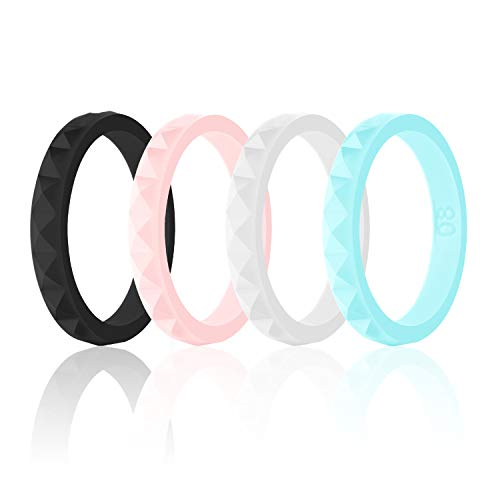 SANXIULY Womens Silicone Ring&Rubber Wedding Bands for Workout and Sports Width 3mm Pack of 4 Size 7