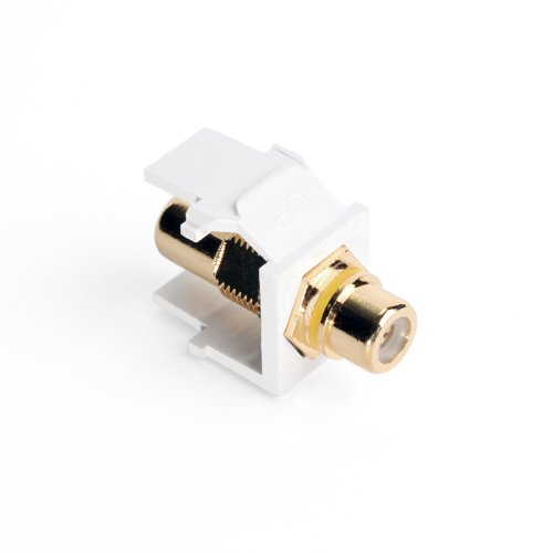 (Leviton 40830-BWY QuickPort RCA, Gold-Plated Connector with Yellow Stripe, White)